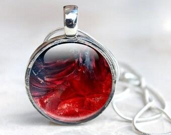 Picture Charm Necklace Picture Necklace Glass Pendant Necklace, Vibrant Oil Paint Abstract Art in Reds Picture Necklace Photo Pendant