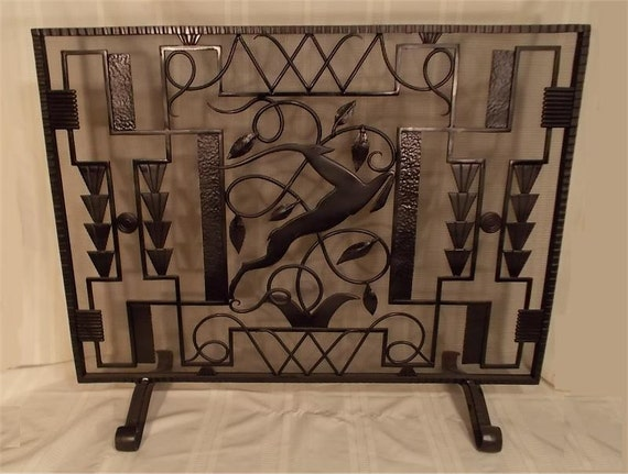 Items Similar To Custom Made Hand Wrought Iron Fireplace Screen Leaping Gazelle On Etsy