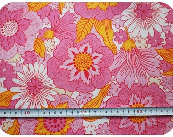 Floral retro vintage fabric - pink and yellow