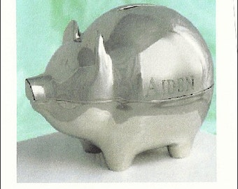 Baby Gift--Personalized Baby Bank, Silver Bank, Engraved Bank,  Baby Engraved Bank.