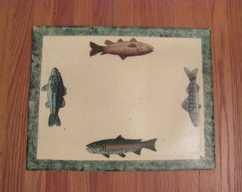 Painted Canvas Placemat with Sponged Border and Fish