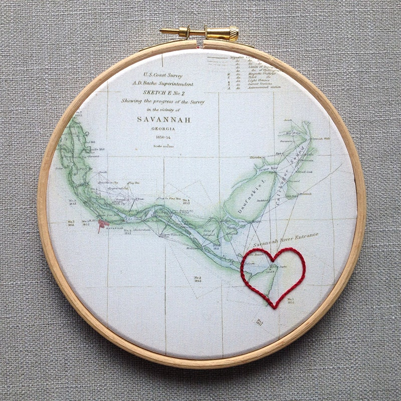 Gifts For Second Wedding Anniversary: Cotton Anniversary Gift: Vintage Map Framed In 6 Wooden