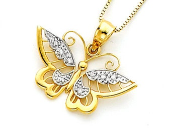 14Kt gold Two-Tone Diamond accent Butterfly Pendant.