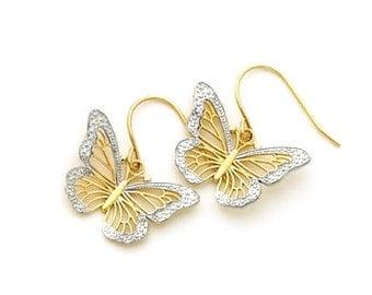 14kt. gold Two tone Butterfly fish hook earrings