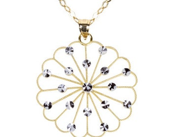 14Kt Gold. Beautiful diamond cut round flower pendant.