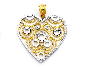 14K gold Two-tone Heart Charm