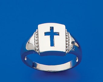 Sterling Silver high polish ring with cut out center Cross.