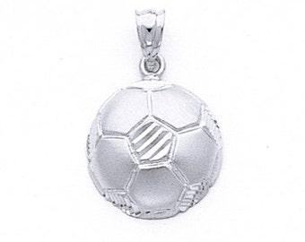 Sterling Silver Soccer Ball Pendant.