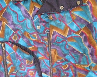 80s Geometric Satin Bomber Jacket