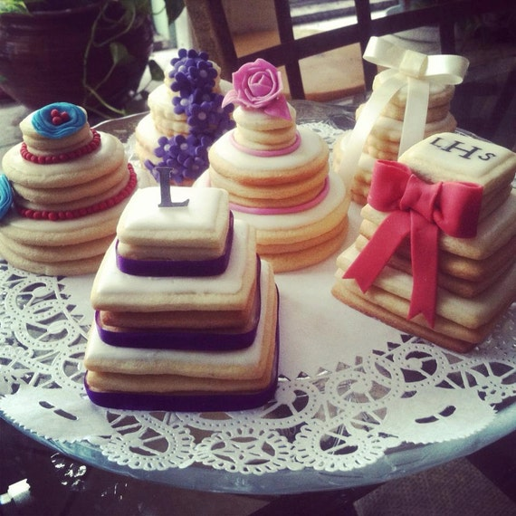 wedding cake stacked cookies items similar to wedding favors mini wedding cake cookies 25585