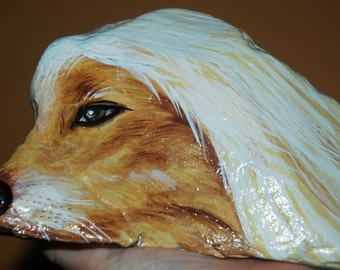 art, painted rock dog