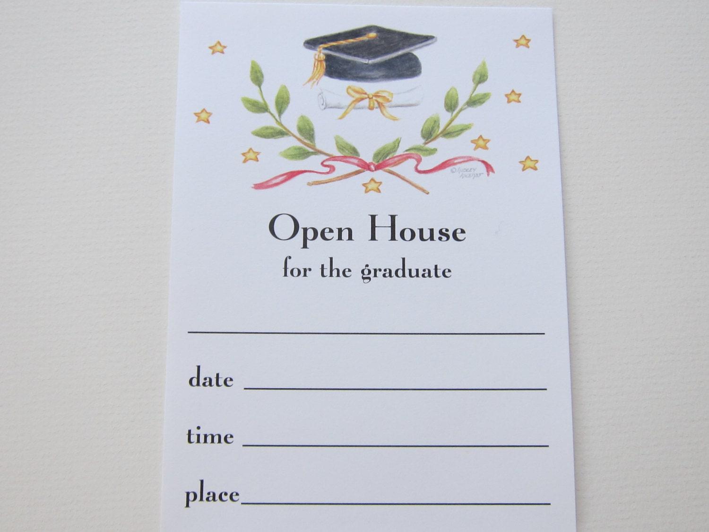Graduation invitations open house victory emblem flat fill in for Graduation open house invitation