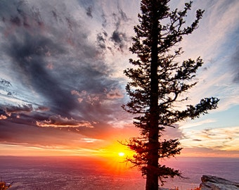 Fine Art Landscape Photography Duke City Sentinel.  Sundown and Sunset over New Mexico Sandia Mountains
