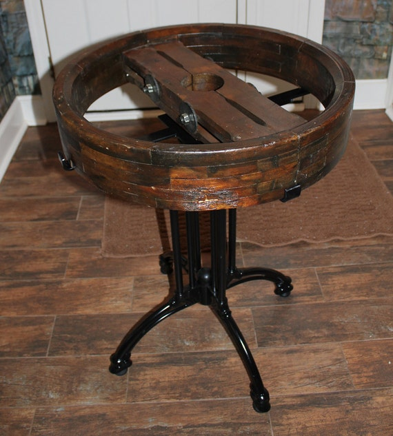Wooden Wheel Table ~ Items similar to vintage wooden belt pulley table on etsy
