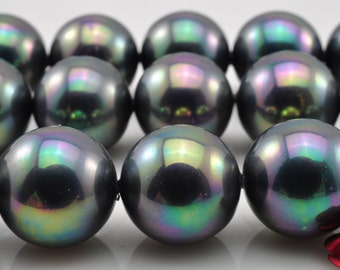 27 pcs of Solid color Shell Pearl smooth round beads in 14mm