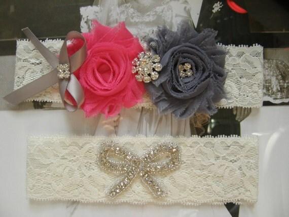 Wedding Garter / Hot Pink & Gray / Bridal Garter / Toss Garter / Vintage Inspired / Lace Garter
