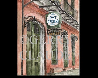 New Orleans Colorful Print of Pat O'Briens from Original Watercolor and Ink by Gerry Claude