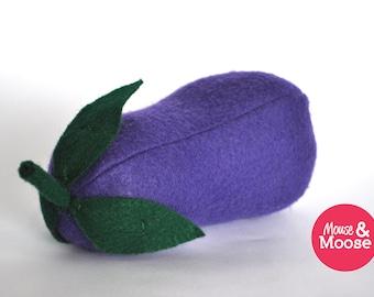 Eco Friendly 100% Wool play Eggplant, elt food, play kitchen, play food, wool felt play food, felt grapes, pretend play
