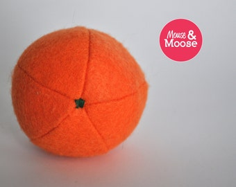 100% Wool pretend play felt Orange. Felt food for play kitchens and other pretend play. Wool felt play food.