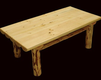 Rustic log furniture Mountain Hewn 1/2 Log Coffee Table
