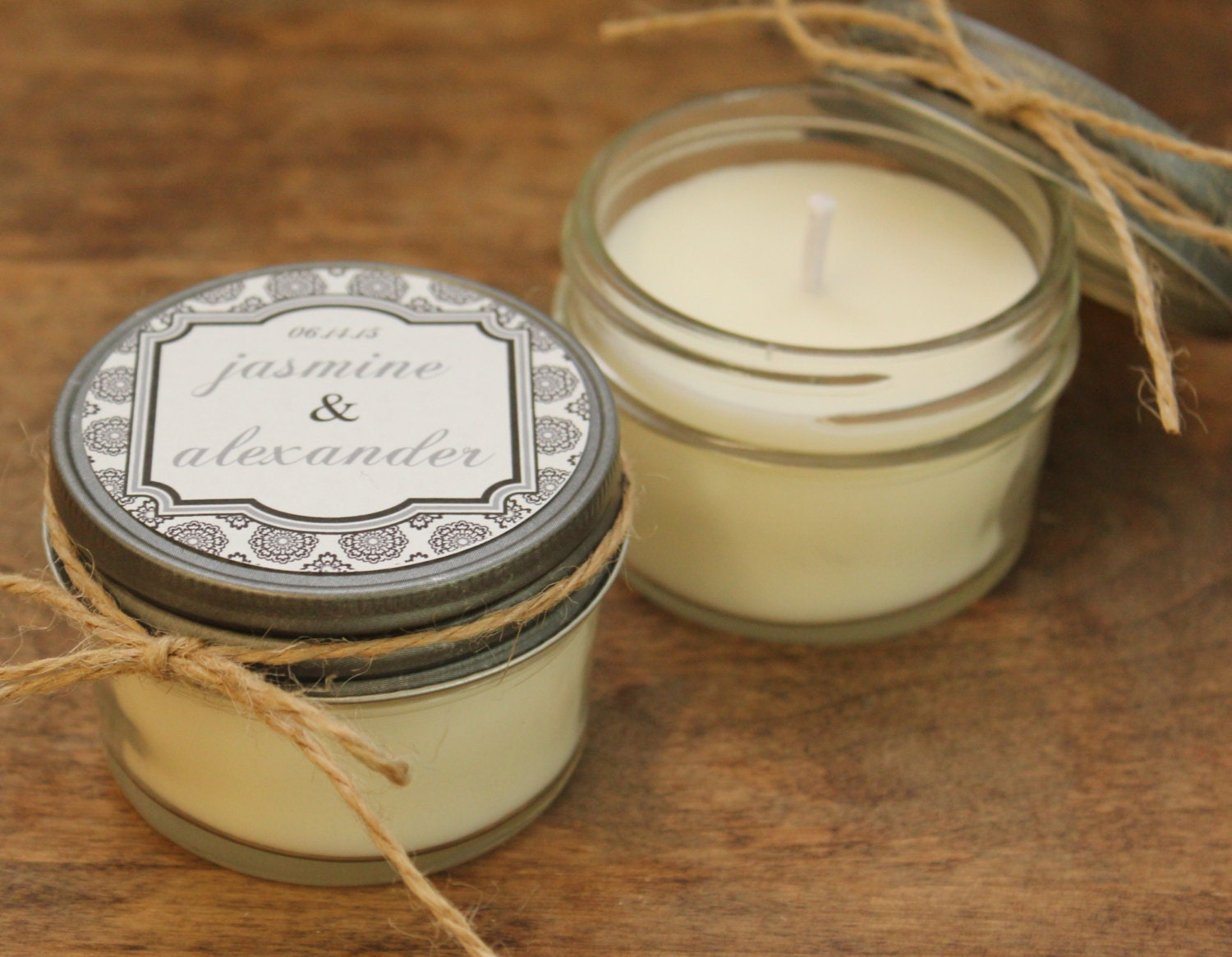 Set Of 12 4 Oz Soy Candle Wedding Favors West Label By