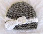 Crochet Bow Baby Hat, white and gray