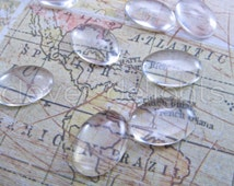 """25 Glass Oval Cabochons - 13x18mm - Clear Magnifying Cabs - For Cameo Pendants, Photo Jewelry, Rings Necklaces - 1/2"""" x 11/16"""" inch"""