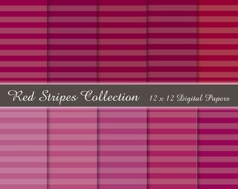 50% OFF SALE. Digital Paper Pack- Red Stripes - 10 Original 300 dpi 12 x 12 .jpg files. Instant Download