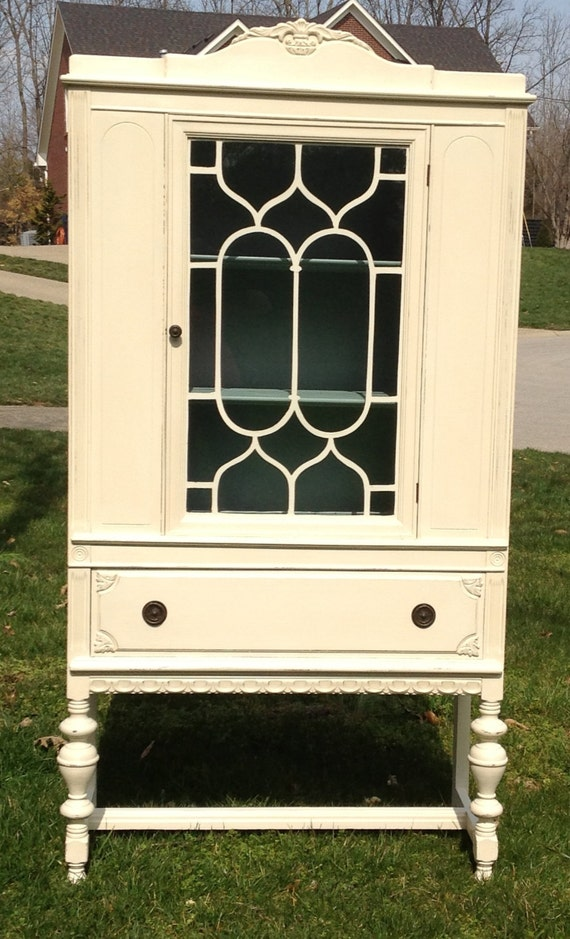 Items similar to SOLD - Antique Upcycled China Cabinet Painted Creamy White  on Etsy - Items - Painted Antique China Cabinet Antique Furniture
