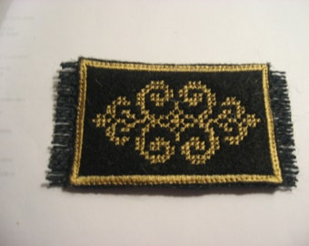 """Black and Gold Victorian Miniature rug in half scale for your Doll House or Room Box  4"""" X 2"""""""
