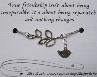 Best Friend Long Distance Friendship -  Charm Bracelet with Leaf and Bird Friendship Quote Card -  Friendship Bracelet - BFF Bracelet