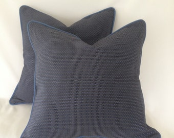 Set Of 2 Royal Blue And Navy Pattern Pillow Cover