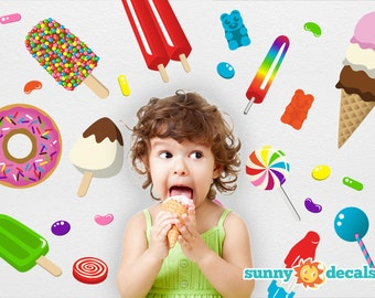 Jumbo Candy Party Decorations, Removable Fabric Wall Decals by Sunny Decals