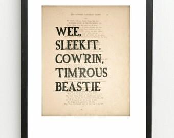 Wee Sleekit, Cow'rin, Tim'rous Beastie - Scottish Vintage Banter Print