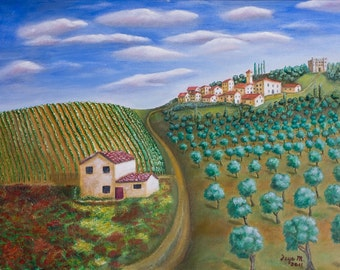 """Tuscany Landscape Oil Painting 22 x 28"""" Stretched Canvas"""