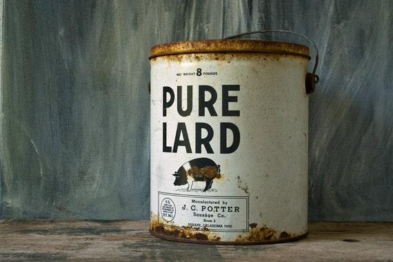 Vintage Lard Bucket J C Potter Sausage Co 8 Pound Lard Tin