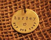 """Personalized 1"""" Brass Hand Stamped Pet I.D. Tag with Name of Pet/Phone Number"""