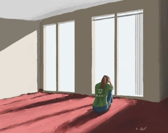 "Print of ""Alone"" Painting of a Girl Sitting Alone on a Red Carpet in Front of a Large Window"