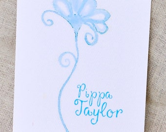 Personalized Stationery with Hand-Painted Flower
