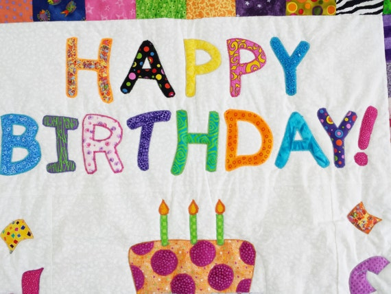 Quilted Happy Birthday Wall Hanging Or Baby Blanket 30 X