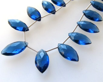 Light Montana Blue Faceted Elongated Crystal Quartz  Marquise Teardrops 20 X 10mm - 8 inch Strand