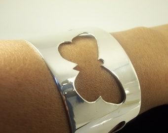 Wide Silver Cuff Bracelet, Butterflies handmade on solid  Fine Silver sheet, Statement bangle, fashion accessory for women