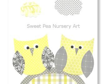 Yellow and Gray Nursery, Owl Nursery Print, Girl nursery, Girls Room Art Cute Nursery Art, Shabby Chic
