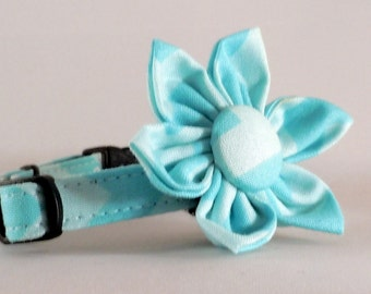 Cat Collar and Flower or Bow Tie - Blue Chevron