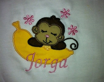 T-Shirt Personalized Embroidered Sleeping Monkey Custom Design