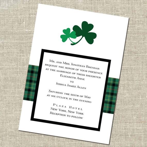 Items similar to double shamrock irish wedding invitation for Etsy wedding invitations ireland