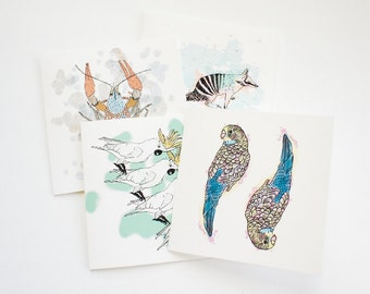 Blank card set of 4, writing set, artist cards