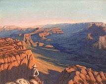 Arizona 'Supply Packer' Grand Canyon, Original Landscape Painting, oil, Southwestern decor, Southwest art, desert, National Park