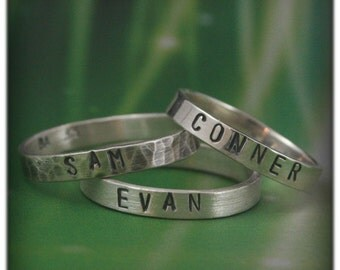 Custom Stamped Name Rings in Solid Sterling Silver--Perfect Gift for Mom or Dad--Hand Stamped Stack Rings