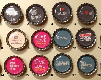 Knit and Crochet Bottle Cap Magnets